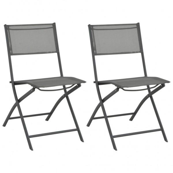 Καρέκλες Εξωτερικού Χώρου Πτυσσόμενες 2 τεμ. Ατσάλι / Textilene  44710
