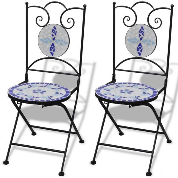Καρέκλες Bistro Πτυσσόμενες 2 τεμ. Μπλε / Λευκό Κεραμικές  41531