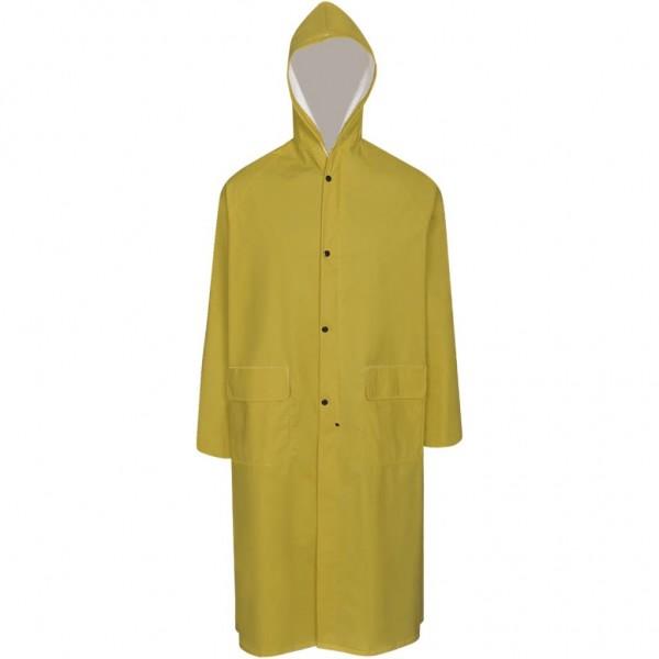 Καπαρντίνα Αδιάβροχη Μεγάλης Αντοχής Μακριά Κίτρινη L με Κουκούλα  130769