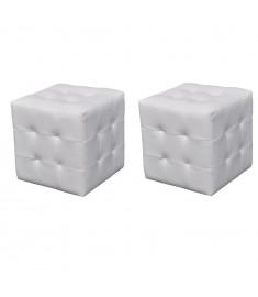 Σετ 2 Σκαμπό Κύβος Δερματίνη Λευκή   60739