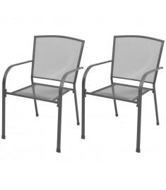 Καρέκλες Κήπου Στοιβαζόμενες 2 τεμ. Γκρι Ατσάλινες  42705