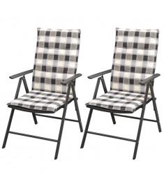 Καρέκλες Κήπου Στοιβαζόμενες 2 τεμ Μαύρες Συνθ. Ρατάν+Μαξιλάρια  42797