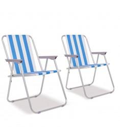 Καρέκλες Camping Πτυσσόμενες 2 τεμ. Μπλε/Λευκό 52 x 62 x 75 εκ.   42914