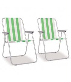 Καρέκλες Camping Πτυσσόμενες 2 τεμ. Πράσινο/Λευκό 52x62x75 εκ.   42916