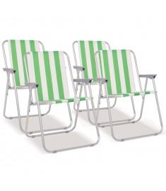 Καρέκλες Camping Πτυσσόμενες 4 τεμ. Πράσινο/Λευκό 52x62x75 εκ.   42917