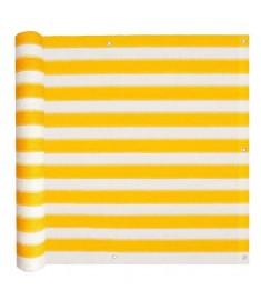 Διαχωριστικό Βεράντας Κίτρινο και Λευκό 75 x 400 εκ. από HDPE
