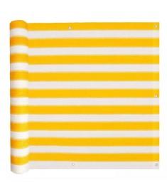 Διαχωριστικό Βεράντας Κίτρινο και Λευκό 75 x 600 εκ. από HDPE