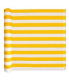 Διαχωριστικό Βεράντας Κίτρινο και Λευκό 90 x 600 εκ. από HDPE  43027