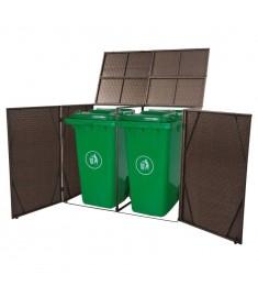 Πλαίσιο Διπλό για Κάδους Απορριμμάτων με Ρόδες Καφέ από Ρατάν  43099
