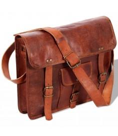 Τσάντα Ώμου Καφέ από Γνήσιο Δέρμα για Laptop 15 Ιντσών  131538