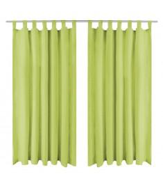 Κουρτίνες με Θηλιές 2 τεμ. Πράσινες 140 x 225 εκ από Microsatin
