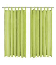 Κουρτίνες με Θηλιές 2 τεμ. Πράσινες 140 x 245 εκ από Microsatin  132224