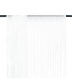 Κουρτίνες με Κρόσσια 2 τεμ. Λευκές 100 x 250 εκ.