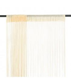Κουρτίνες με Κρόσσια 2 τεμ. Κρεμ 100 x 250 εκ.   132402