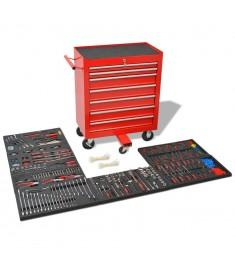 Εργαλειοφόρος Τροχήλατος με 1125 Εργαλεία Κόκκινος Ατσάλινος  142248