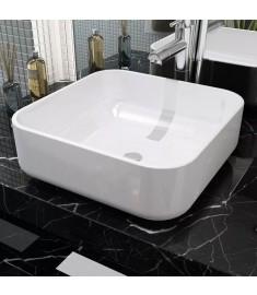 Νιπτήρας Τετράγωνος Λευκός 38 x 38 x 13,5 εκ. Κεραμικός  142338