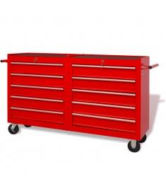 Εργαλειοφόρος Τροχήλατος με 10 Συρτάρια Κόκκινος XXL Ατσάλινος  142350