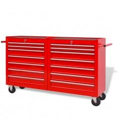 Εργαλειοφόρος Τροχήλατος με 14 Συρτάρια Κόκκινος XXL Ατσάλινος  142351