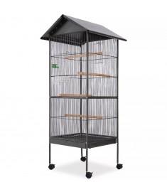Κλουβί Πουλιών με Σκεπή Μαύρο 66 x 66 x 155 εκ. Ατσάλινο  170409
