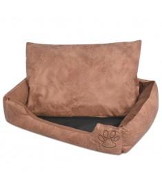 Κρεβάτι Σκύλου Μπεζ Μέγεθος L από Συνθετικό Δέρμα με Μαξιλάρι  170427