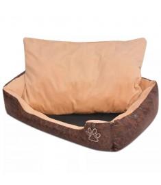 Κρεβάτι Σκύλου Καφέ Μέγεθος S από Συνθετικό Δέρμα με Μαξιλάρι  170430