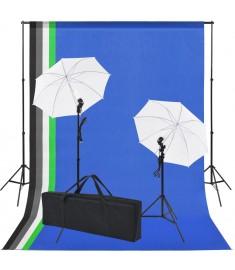 Κιτ Στούντιο Φωτογράφισης: 5 Χρωματιστά Φόντα & 2 Ομπρέλες   190206
