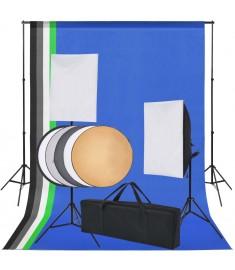 Κιτ Στούντιο Φωτογράφισης: 5 Χρωματιστά Φόντα & 2 Softbox   190207