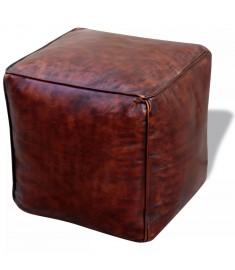 Σκαμπό Πουφ Τετράγωνο Καφέ 45 x 45 x 45 εκ. από Γνήσιο Δέρμα    243426