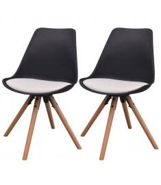 Καρέκλες Τραπεζαρίας 2 τεμ. Ασπρόμαυρες από Συνθετικό Δέρμα   243562