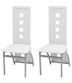 Καρέκλες Τραπεζαρίας 2 τεμ. Λευκές από Συνθετικό Δέρμα   243646