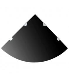 Ράφι Γωνιακό Μαύρο 45 x 45 εκ. Γυάλινο με Στηρίγματα Χρωμίου  243857