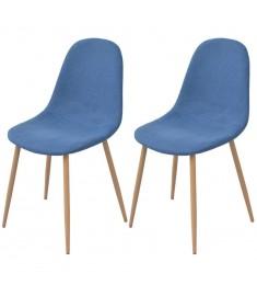 Καρέκλες Τραπεζαρίας 2 τεμ. Μπλε Υφασμάτινες  243872