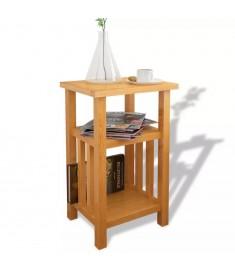 Τραπέζι Βοηθητικό με Ράφι 27 x 35 x 55 εκ. Μασίφ Ξύλο Δρυός  244211