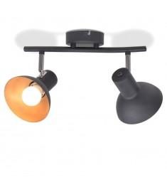Φωτιστικό Οροφής Ράγα για 2 Λαμπτήρες E27 Μαύρο / Χρυσαφί  244409