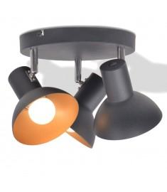 Φωτιστικό Οροφής για 3 Λαμπτήρες E27 Μαύρο / Χρυσαφί  244411