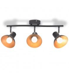 Φωτιστικό Οροφής Ράγα για 3 Λαμπτήρες E27 Μαύρο / Χρυσαφί   244412
