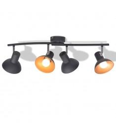 Φωτιστικό Οροφής Ράγα για 4 Λαμπτήρες E27 Μαύρο / Χρυσαφί   244413
