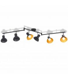 Φωτιστικό Οροφής Ράγα για 6 Λαμπτήρες E27 Μαύρο / Χρυσαφί   244414