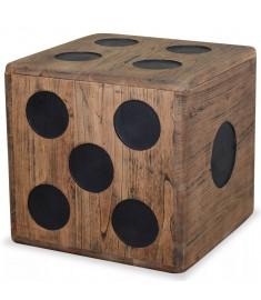 Κουτί Αποθήκευσης Σχέδιο Ζάρι 40 x 40 x 40 εκ. από Ξύλο Mindi   244559