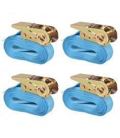 Ιμάντες Πρόσδεσης με Καστάνια 4 τεμ Μπλε 0,8 Τόνων 6 μ.x 25 χιλ