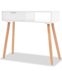 Τραπέζι Κονσόλα Λευκό 80 x 30 x 72 εκ. από Μασίφ Ξύλο Πεύκου   244737