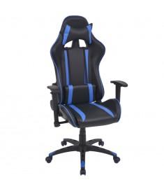 Καρέκλα Γραφείου Racing Ανακλινόμενη Μπλε από Συνθετικό Δέρμα  20160