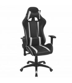Καρέκλα Γραφείου Racing Ανακλινόμενη Λευκή από Συνθετικό Δέρμα  20163