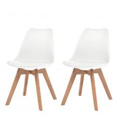Καρέκλες Τραπεζαρίας 2 τεμ. Λευκές Συνθετικό Δέρμα & Μασίφ Ξύλο  244783