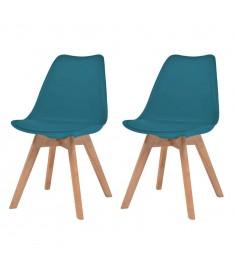 Καρέκλες Τραπεζαρίας 2 τεμ. Τιρκουάζ Δερματίνη και Μασίφ Ξύλο   244789