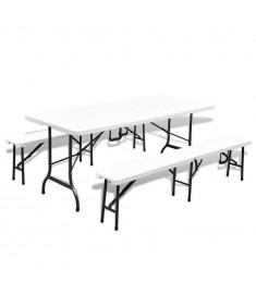 Τραπέζι Μπύρας Πτυσσόμενο + 2 Παγκάκια Λευκό 180 εκ Ατσάλι/HDPE  43600