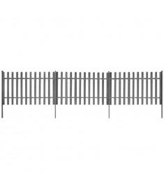 Φράχτης με Στύλους 3 τεμ. Γκρι Μήκος 6 μ. Ύψος 100 εκ. από WPC  42828