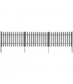 Φράχτης με Στύλους 3 τεμ. Γκρι Μήκος 6 μ. Ύψος 120 εκ. από WPC  42829