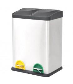 Κάδος Απορριμμάτων / Ανακύκλωσης Διπλός 2x18 Λίτρα Ανοξ. Ατσάλι  50600