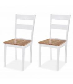 Καρέκλες Τραπεζαρίας 2 τεμ. Λευκές από Ξύλο Καουτσουκόδεντρου   245368